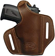 Barsony Brown Leather Pancake Gun Holster for Taurus TCP 738 .380 Right