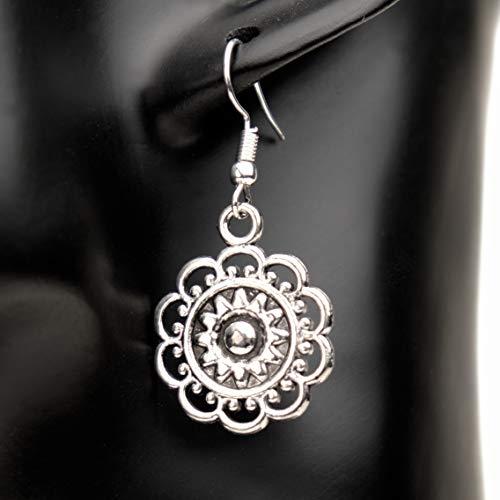 Ohrringe SILVER BLOSSOM Blume Blüte versilbert antik hängend handmade einzigartig Damen Mädchen...