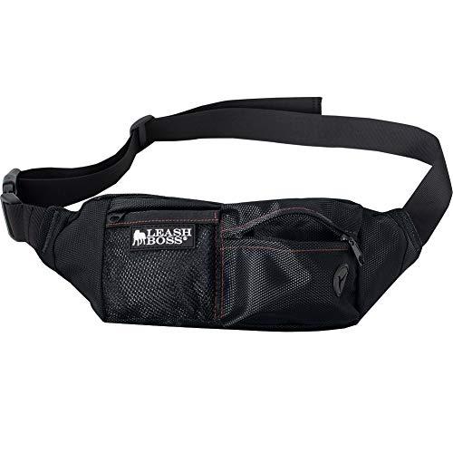 Leashboss PackUp Pouch Hundesnacks Training Taillengürtel Aufbewahrung Bauchtasche und Kotbeutelspender (schwarz)