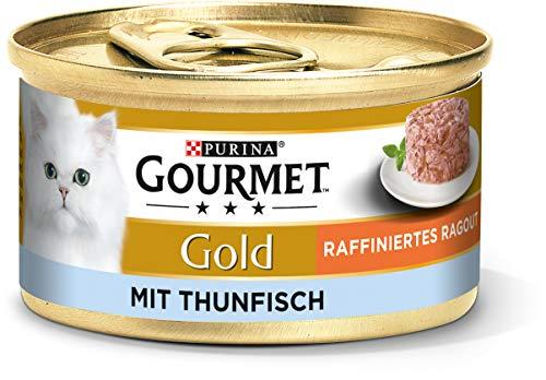 PURINA GOURMET Gold Raffiniertes Ragout Katzenfutter nass, mit Thunfisch, 12er Pack (12 x 85g)