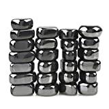 SPACECARE Magnets 25 PCS Hematite Magnetic Stones Polished Magnets For Kids, Refrigerator Or Neat Party Gift, Metal Black 1 Lbs