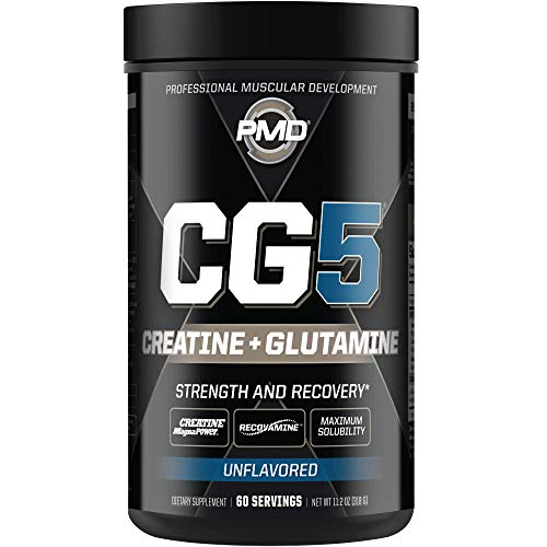 PMD Sports CG5 - Premium Creatine and L Glutamine Formula - Maximum Strength Power Recovery, Build Lean Muscle, Increase Workout Performance - Pre Workout and Post Workout - Unflavored (60 Servings)