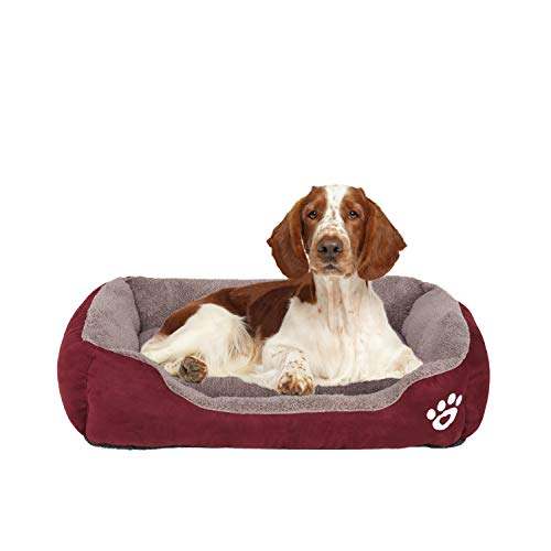 FRISTONE Dog Beds Medium Washable Pet Basket Orthopedic Kennel Bed for Small Large Dogs Deluxe Fleece Cushion Blanket XL Red 32x24in