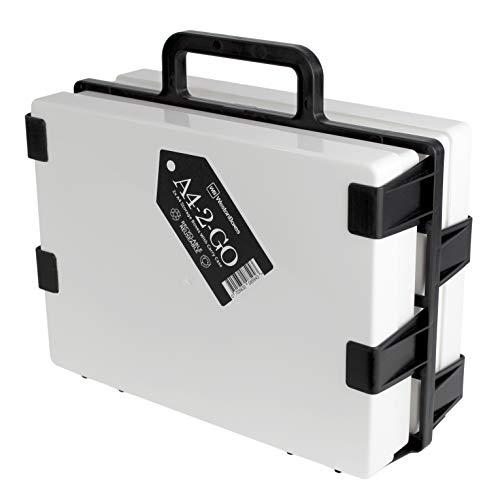 WestonBoxes A4-2-GO draagbare plastic opbergdoos drager Inclusief 2 A4 opbergdozen, ideaal voor knutselwerk onderweg (1 Stuk, Wit)