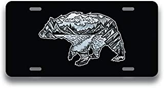 JMM Industries Bear Geometric Wild Mountain Vanity Novelty License Plate Tag Metal Car Truck 6-Inches by 12-Inches Etched Metal UV Resistant ELP136