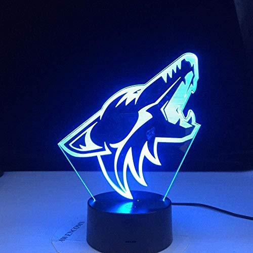 tyehhhdzh lámpara de ilusión 3d led luz de noche 10 ° aniversario comercial cabeza de lobo animal colorido lobo diseño lámpara de mesa dormitorio decoración moderna