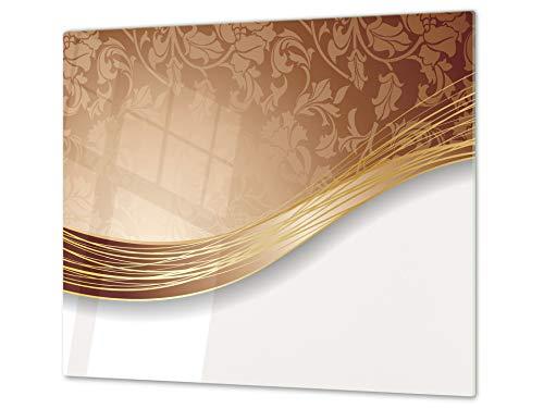 Planche à découper en verre trempé – Couvre-cuisinière et protège-plain de travail en verre résistant – UNE PIÈCE (60x52 cm) ou DEUX PIÈCES (30x52 cm chacune); D01 Série Abstract: Art abstrait 46