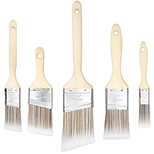 LITSPOT Flachpinsel Set Pinsel Malerpinsel Set 25 38 50 50 63mm mit Holzgriff Premium Lasurpinsel Set für präzise Malerarbeiten