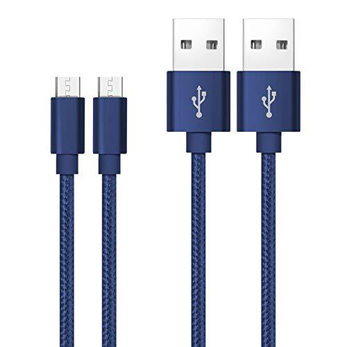 Cable Micro USB Qiwode, Cable de Datos USB Android de 2 Piezas Compatible con Galaxy S7 / S7 + / S6 / S6 + / Note 4/5, Nexus, HTC, Sony, PS4, tabletas, Amazon Kindle (0.6m, Azul)