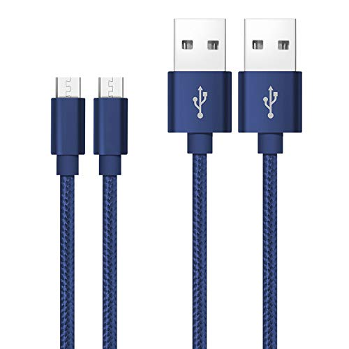 Cavo micro USB Qiwode, 2 pezzi Cavo dati USB Android compatibile per Samsung Galaxy S7 / S7 + / S6 / S6 + / Nota 4/5, Nexus, HTC, Sony, PS4, Tablet, Amazon Kindle (1.2m, Blu)