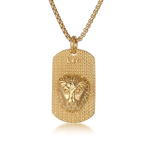AMOZ Leo Zodiac Star Sign Necklace, Vintage Astrology 18K Gold Plated 316L Stainless Steel 3D Dog Tag Classic,Oro