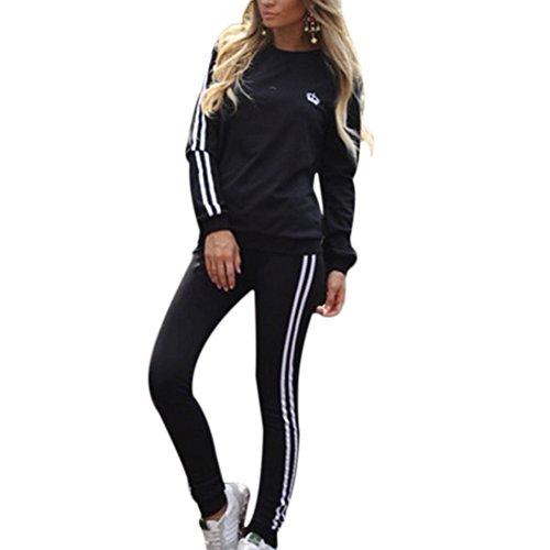 Damen-Trainingsanzug-Set, langärmlig, gestreift, Sweatshirt, Kapuzenpullover + Hose, Sportanzug, 2 Stück Gr. 34-36, Schwarz