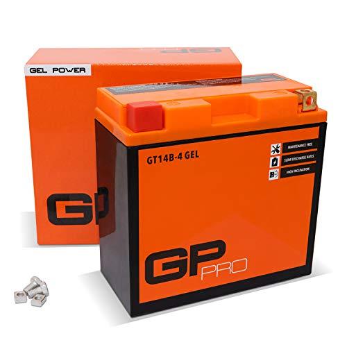 GP-PRO GT14B-BS 12V 12Ah GEL Batería de arranque (compatible con YT14B-BS / YT14B-4) (Sin necesidad de mantenimiento/Sellado) Moto Acumulador