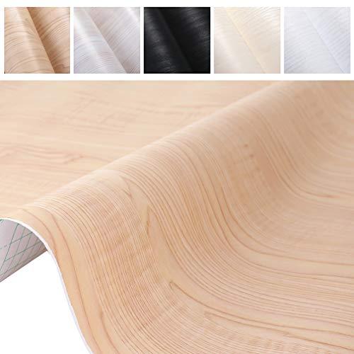 PROHOUS Holz Möbelaufkleber Klebefolie Tapete Holzoptik Möbelfolie 0.61 * 5M Selbstklebende Küchenschrank PVC Aufkleber Beige Folie für Möbel Küche Kommode Schrank Tisch Verschleißfest Geruchlos