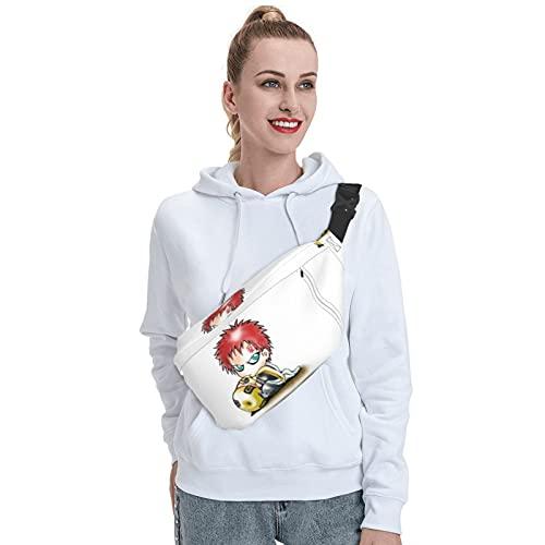Skylivenation Naruto Cartoon Anime Gaara Sling Bag Mochila bandolera resistente al aire libre, mochila bandolera antirrobo, mochila ligera de viaje para hombres y mujeres.