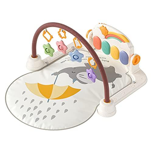 Alfombras de juego y gimnasios,Manta de Juegos Bebe Actividades,Gimnasio Bebe Actividades Piano Juguetes con Música y Luz,Animales Gimnasio Actividades Juguetes Regalo para Recien Nacido(Elefante)