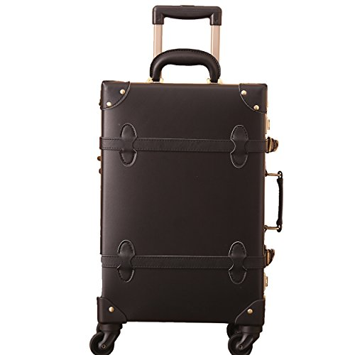 Vintage Leather Trolley Carry-On Luggage with Spinner Wheels for Travel 20 Inch (Nakajima Black, 66 cm (58.3 litres))