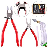Hilitchi 3-Pcs Premium Glass Running Breaking Pliers and Pistol Grip Cutter Set Glass Tool for Stained Glass,...