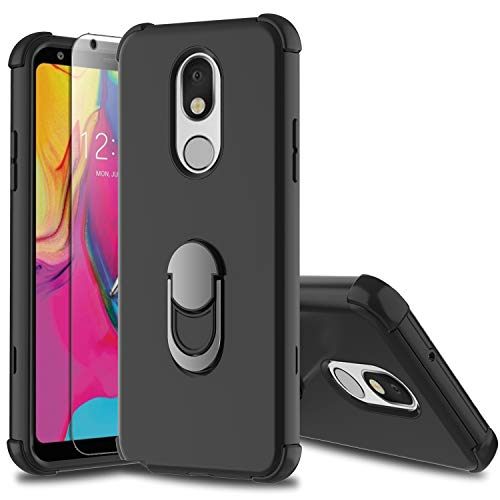 Leptech LG Stylo 5 Case with Soft TPU Screen Protector, LG Stylo 5 Plus Case, Ring Holder Kickstand Series Compatible with LG Stylo 5/LG Stylo 5V Case (Black)