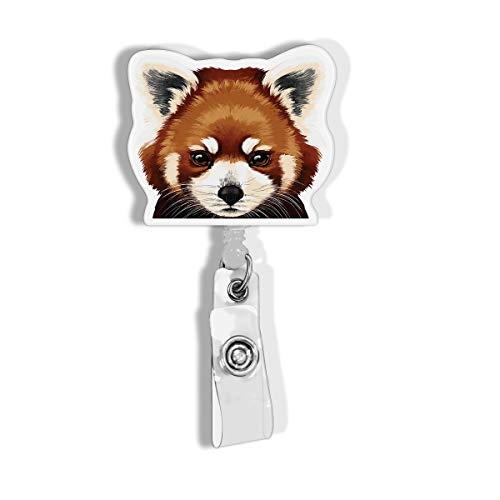 WIRESTER Retractable Badge Reel ID Holder with Alligator Clip for Office Worker, Medical Staffs, Student - Red Panda