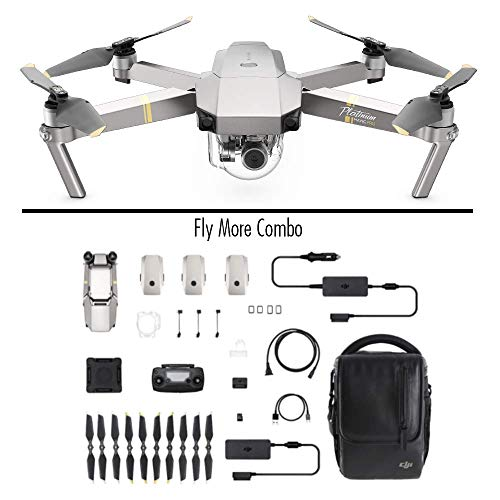 DJI Mavic Pro Platinum Fly More Combo - Quadcopter Drone, Noise Level 4 dB, Battery Life in Flight 30 Minutes, Radio Control and 4K Camcorder, 7 Km Range, 12 MP Image - Gray - [EU Version]