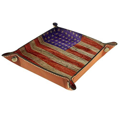 Bandeja plegable de cuero para guardar joyas, organizador de maquillaje, para llaves, monedas, relojes, joyas, dados, bandejas, bandera americana en textura de madera Grunge