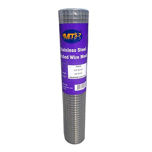 MTB SS304 Stainless Steel Welded Wire Mesh 24 inches x 10 feet- 1/2 inch x 1/2 inch Mesh 18GA(1.2mm)