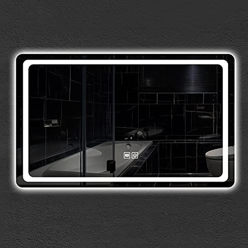 YZJJ Espejo de Pared para baño con luz LED, Espejo de tocador de Maquillaje antivaho, Espejo retroiluminado con Interruptor táctil Impermeable, Vertical y Horizontal