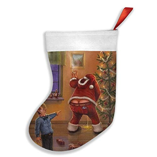 Youlimei Christmas Funny Bad Santa Peeing Xmas Themed Christmas Stockings Decoration Xmas Socks Gift Bag Ornament 18 Inch XL Large Bulk Big Jumbo Home Party Supplies Item Plush