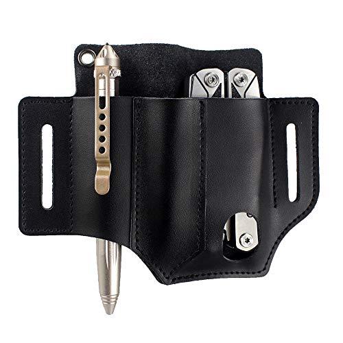 Depring Leather Tool Sheath 3 Pockets Multitools Holder Holster EDC Essentials Organizer Belt Pouch