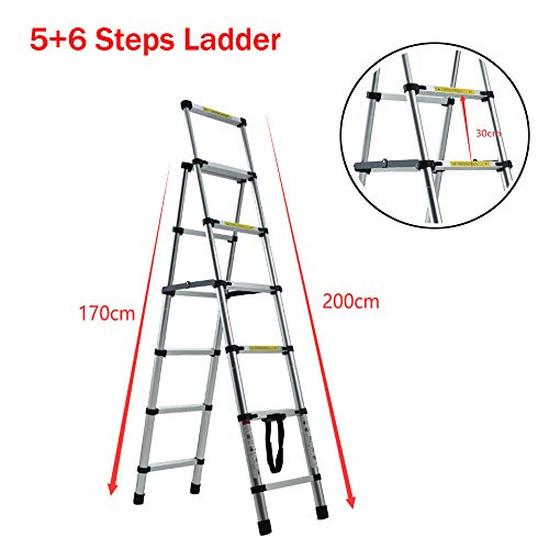 Telescopic Ladder 5+6 Step Aluminum Telescoping Collapsible Ladder, A-Frame Extension Ladder with Safety-Lock and Anti-Slip Pedal, Foldable Lightweight Ladders for Home DIY