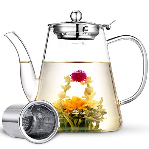 Glass Teapot, Zpose Tea Pot, Teapots, 40oz/1200ml Tea Pots with Scale Line, Tea Pot with Infuser, Borosilicate Glass Teapot for Stovetop Safe, Tea Pot for Tea, Blooming Tea, Loose Tea, Flowering Tea