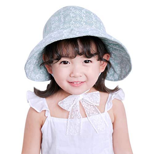 PRETYZOOM Bebé Niña Visera de Ala Ancha Sombrero para El Sol Estampado Floral Sombrero de Protección Uv Sombrero de Copa Vacío para Actividades Al Aire Libre Adecuado para Niños de 2 a 5 Años (Verde)