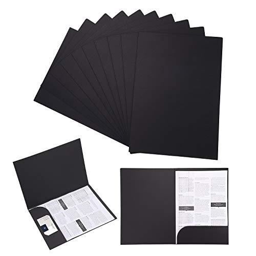 Cartelline portadocumenti, formato A4, in carta kraft, per presentazioni, progetti e documenti, con scomparto per carte, per ufficio, scuola, casa, 10 pezzi Kraft Color (Nero)