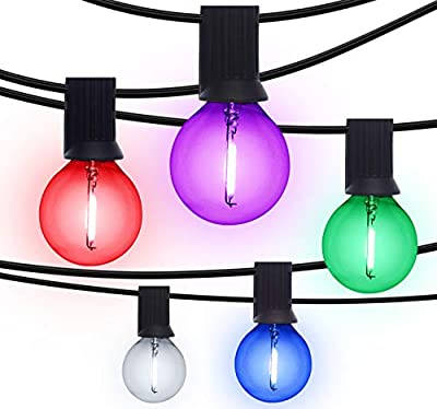 Otronics 25 Ft Color G40 LED Outdoor Globe String Lights with 25 Clear Colors Edison Glass Bulbs(- Hanging Indoor/Outdoor String Lights - Waterproof Patio Lights Create Cafe Ambience On Your Balcony
