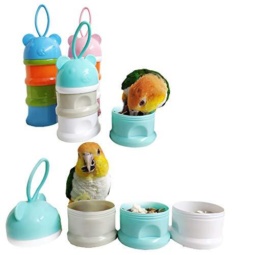 QBLEEV Tragbare Vogelfutter-Tassen, für Papageien, Wasserfutter, Futter-Aufbewahrungsbehälter, Reisekäfig, Rucksackzubehör, blau