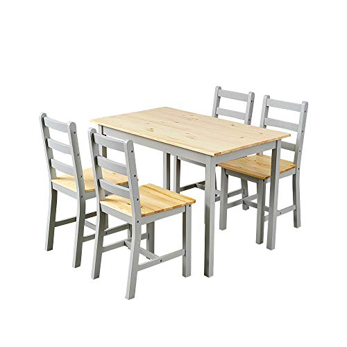 Panana Wooden Dining Table with 4 Chairs Sets Contemporary Dining Room Furniture Three Colors for Choose (Grey)