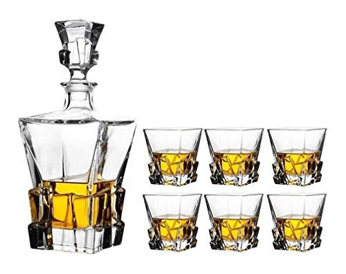 Whisky Decanter Crystal Whiskey Decanter 820ml y juego de 6 gafas 300 ml Cristal sin plomo para espíritus Borbón o escocés perfectamente regalo en caja vasos whisky cristal RVTYR