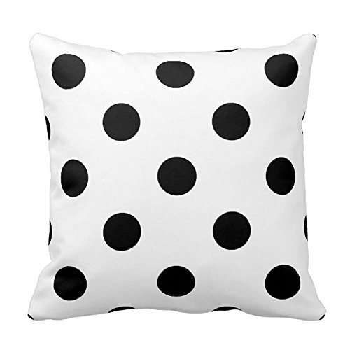Polka Dots Throw Pillow Case Cover Square, Black on White
