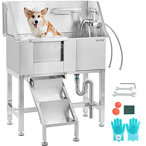 VEVOR 34' Pet Grooming Tub Stainless Steel Dog Wash Station Pet Washing Station and Dog Bath Tub Water-Resistant Grooming Tub for Dogs with Removable Door & Ladder on The Left