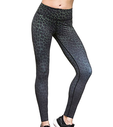 Moorui Damen Yoga Leggings Leopard Muster Workout Gym Tights Fitness Lounge Sporthose Schwarz M