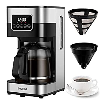 SHARDORCoffeeMaker,Touch-Screen 10-cup Programmable with Glass Carafe Stainless Steel