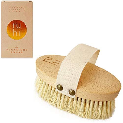 ruhi® Körperbürste VEGAN [NEU] 100% Naturborsten Sisal HART gefertigt in DE plastikfrei zur Trockenbürsten Massage (dry brush) gegen Cellulite|regionales, FSC-zertifiziertes Buchenholz