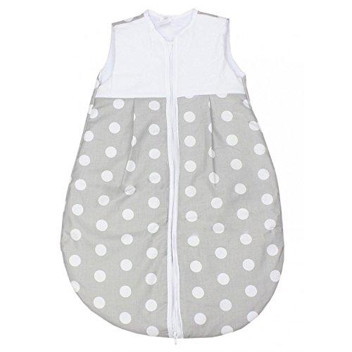 TupTam Baby Schlafsack Wattiert ohne Ärmel ANK001, Farbe: Tupfen Grau, Größe: 62-74