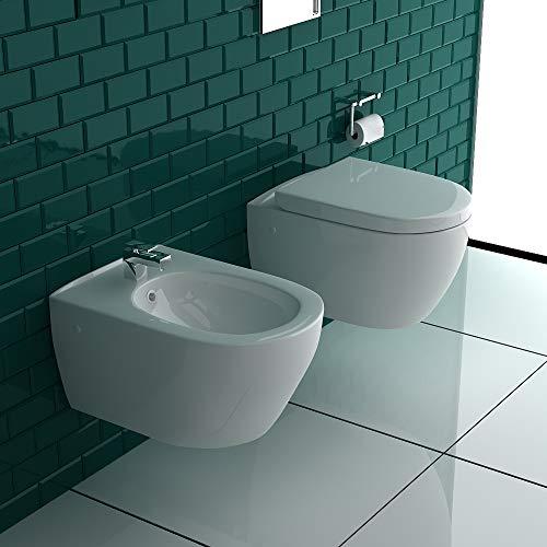 Tiefspüler-Hänge-WC&Bidet mit Überlaufschutz&Quick-Release D-Form WC-Sitz mit Absenkautomatik | Komplett-Set | Kein Überspritzen durch innovative Wasserführung | passend zu GEBERIT