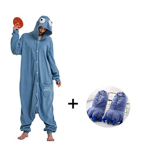 HIUGHJ Cosplay Kostüm Winter Nachtwäsche Große Pyjamas Für Erwachsene Tier Onesies Mit Hausschuhen Frauen Pyjamas Männer, Sesamstraße Onesie, XL