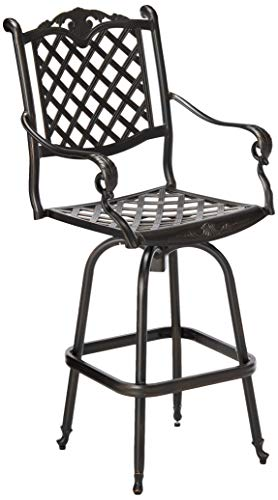 Christopher Knight Home Avon Outdoor Cast Aluminum Bar stool, Shiny Copper