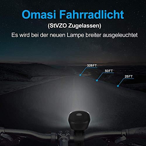 Omasi Fahrradbeleuchtung LED StVZO Zugelassen Fahrradlicht Fahrradlampe USB Wiederaufladbar Fahrrad Frontlicht Wasserdicht Fahrradleuchte 1200mAh Akku MTB Rennrad Schwarz - 4