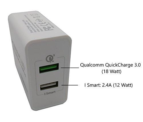 Qualcomm Quick Charge 3.0 & Apple Ismart 2,4A - 30 Watt - Extrem leistungsstark - Schnelles Ladegerät - Power Plug