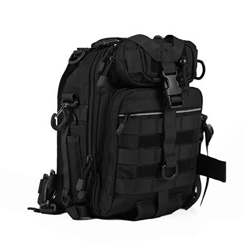 ZHHk 1000D Nylon Tactical Backpack Black Outdoor Sports Travel Shoulder Bag Waterproof Riding Multi-pocket Chest Bag Widened Thick Shoulder Strap
